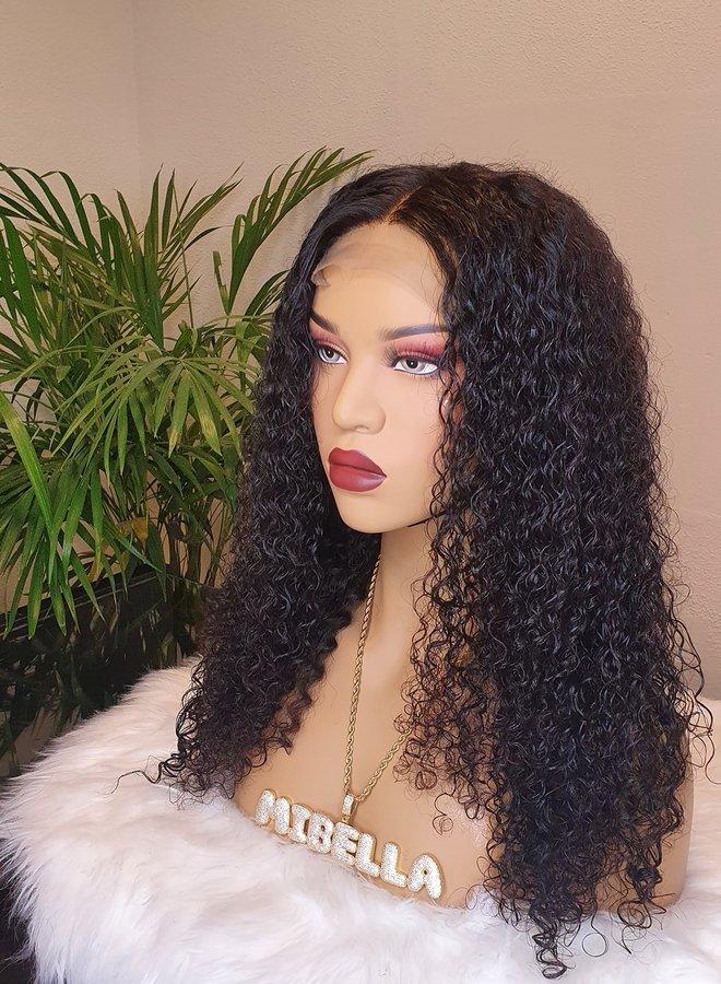 "Closure Wig Kinky Curly 18"""
