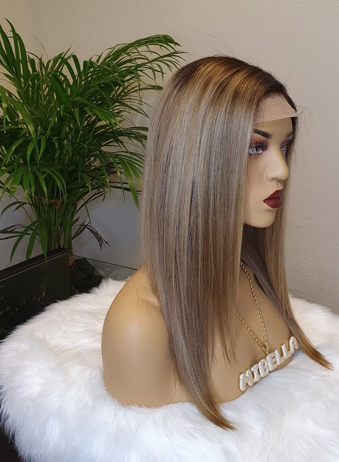 Closure Wig Light Brown + Highlights 14""