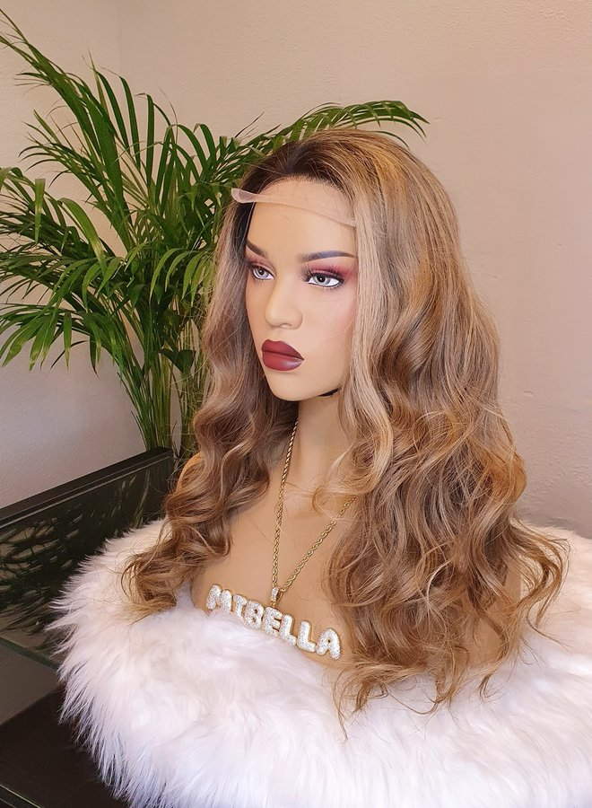 """Closure Wig  Raw* Indian Light Brown + Highlights 18"""""""