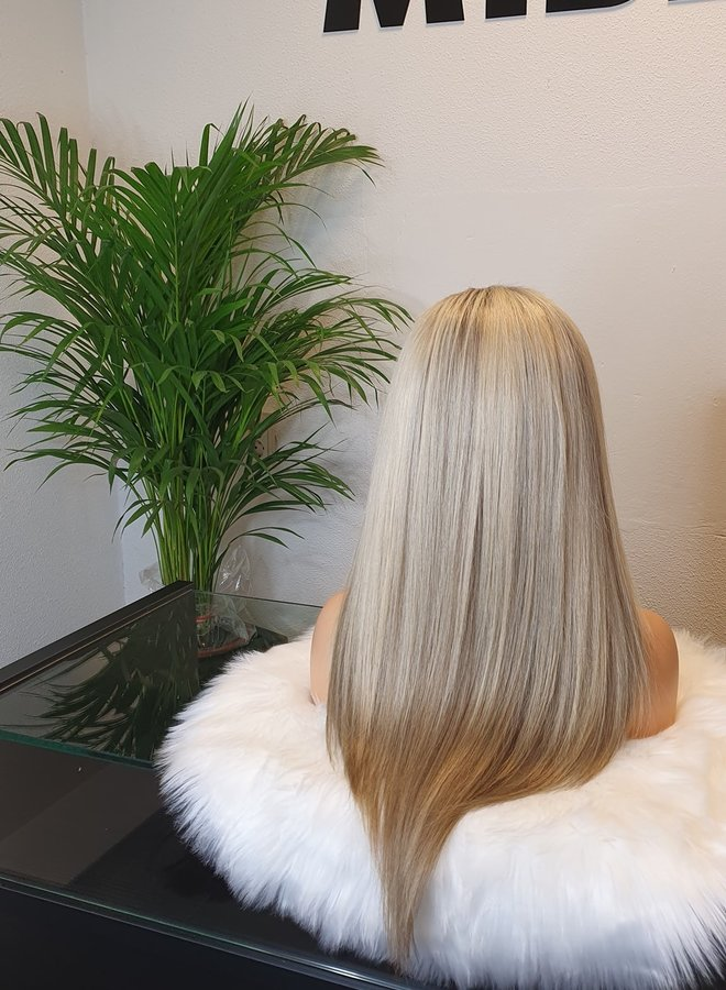 """Frontal Wig Blonde 18"""" Raw Indian Hair"""