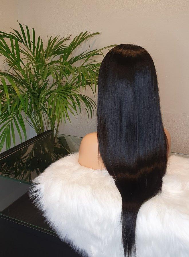 "Closure Wig 24"" Raw Indian Straight Jet Black"
