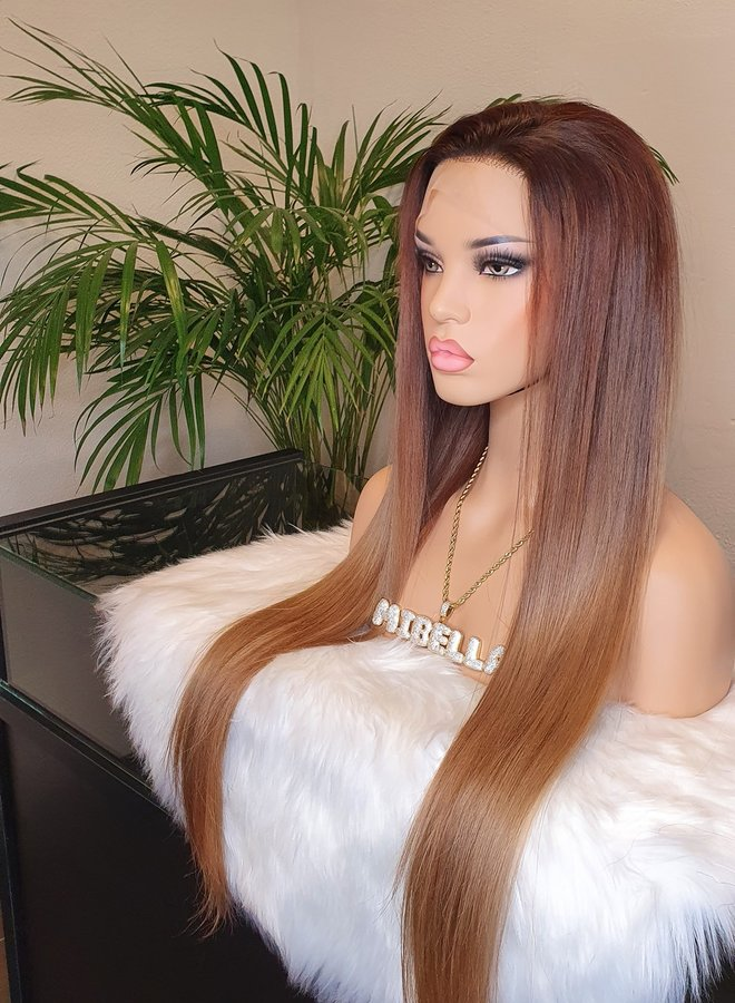 Frontal Wig Raw* Indian Hair Auburn Ombre 26 inch