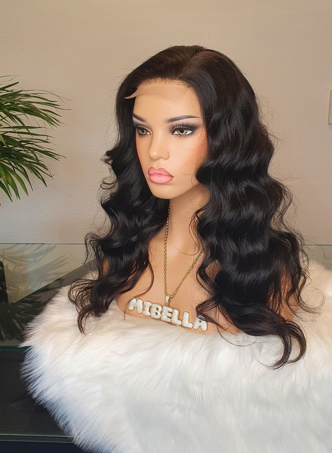 """Closure Wig 20"""" Raw* Indian Body Wave Transparent Lace (schaars)"""