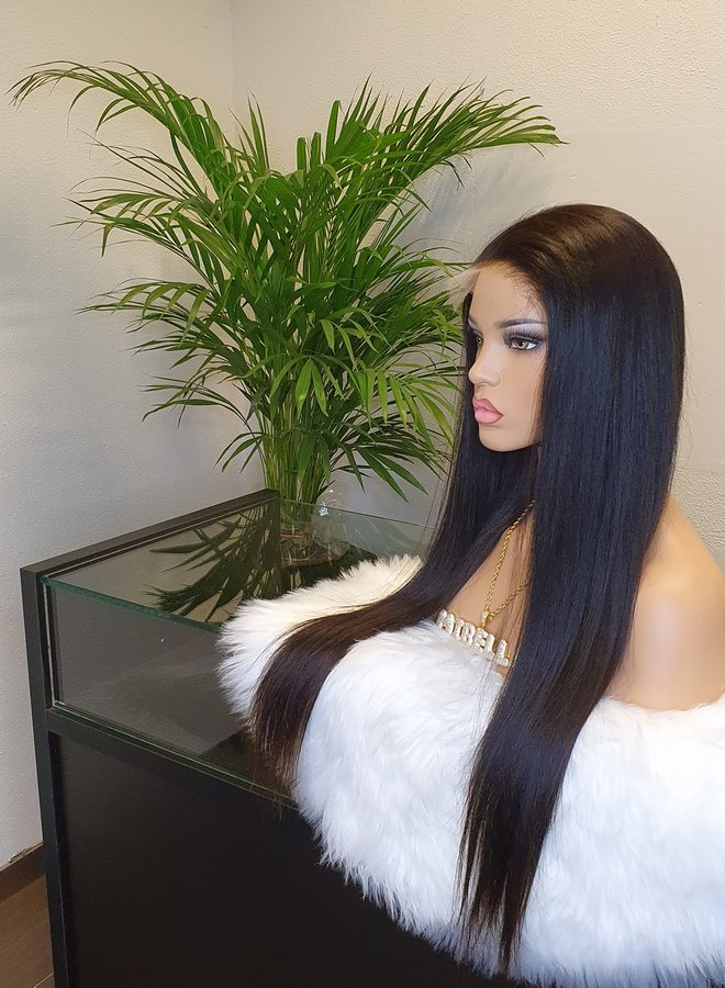 """5x5 HD Closure wig 24"""" Raw Indian Straight 425 gram (lees omschrijving)"""