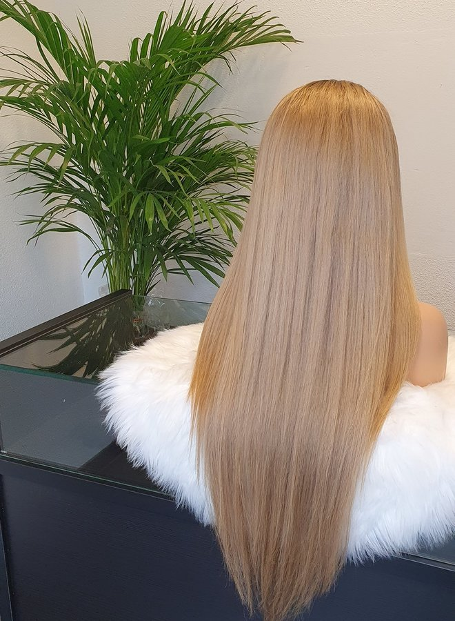 "Honey Blonde Frontal Wig 26"" Raw Indian Hair"