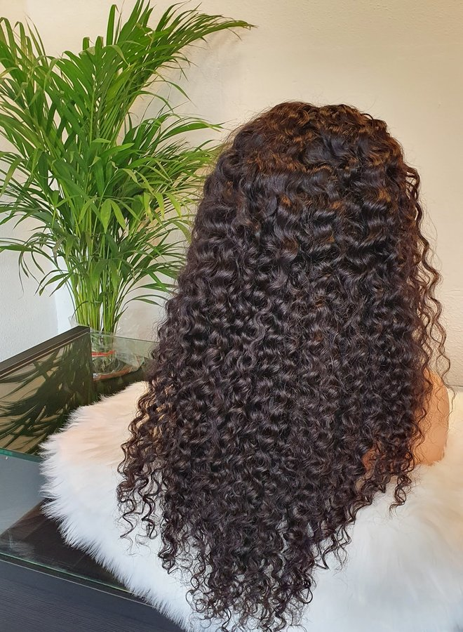 """Frontal Wig Curly Remy Hair 24"""" Transparent lace"""