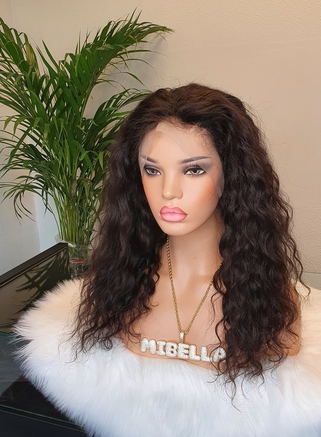 """Frontal Wig Loose Curly Raw* Indian Hair 16"""" Transparent Lace"""
