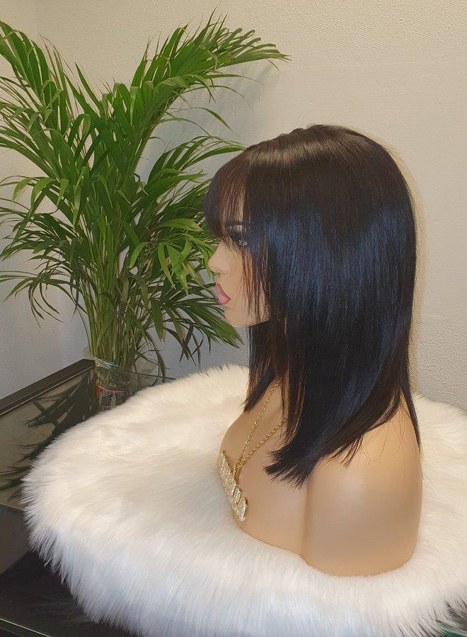 "Closure Wig Bangs 10"" Raw Indian Hair"