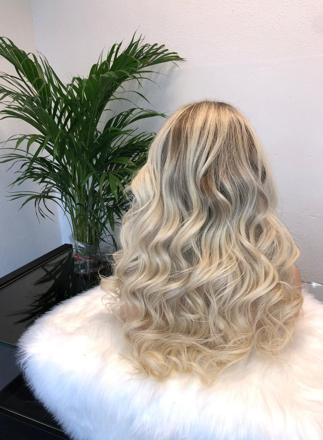 "Closure Wig Ash Blonde 20"" Raw Indian Hair"