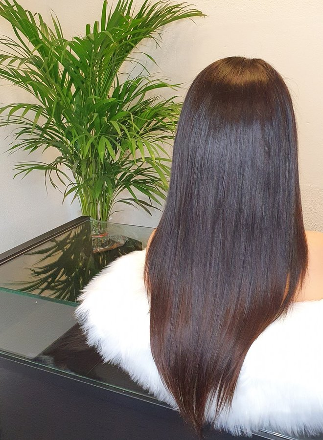 """HD Frontal Wig Raw Indian Straight 22"""" Bleached Knots"""