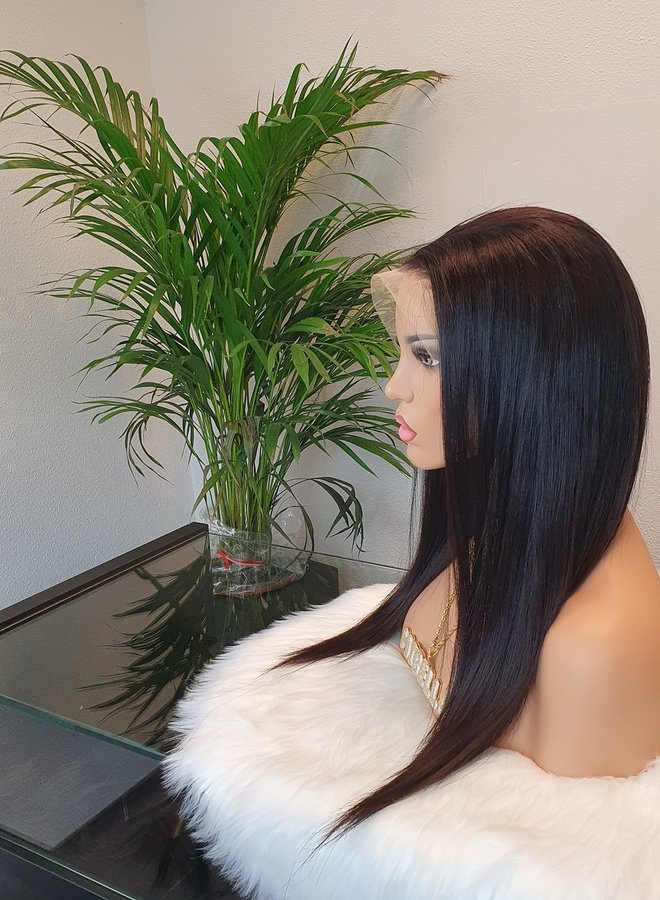 "Transparante Frontal Wig Straight 18"" Raw Indian Straight"
