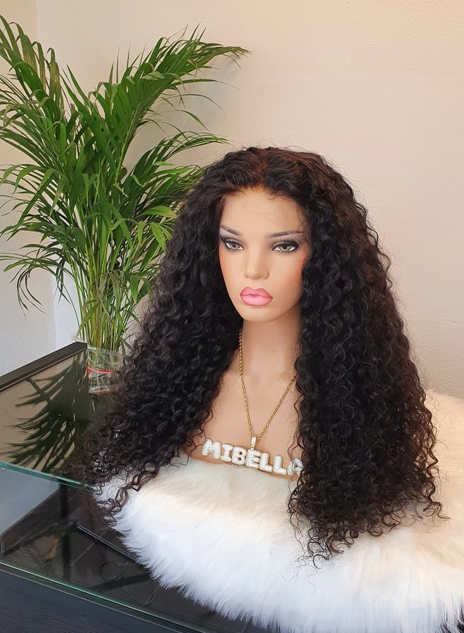 """HD Frontal Wig Curly Remy Hair 24"""" Bleached Knots"""