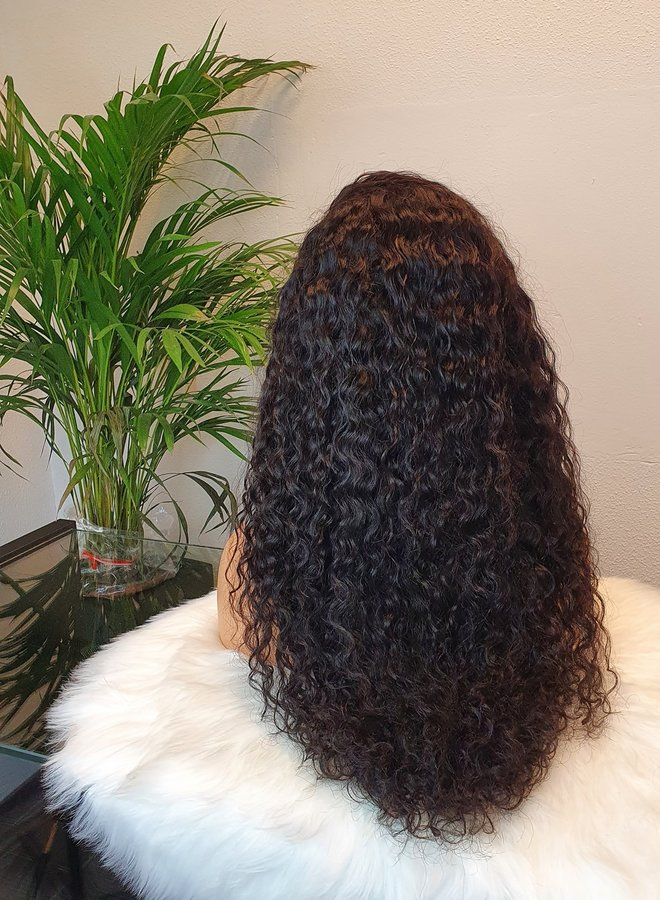 """HD Frontal Wig Curly Remy Hair 22"""" Dome Cap"""