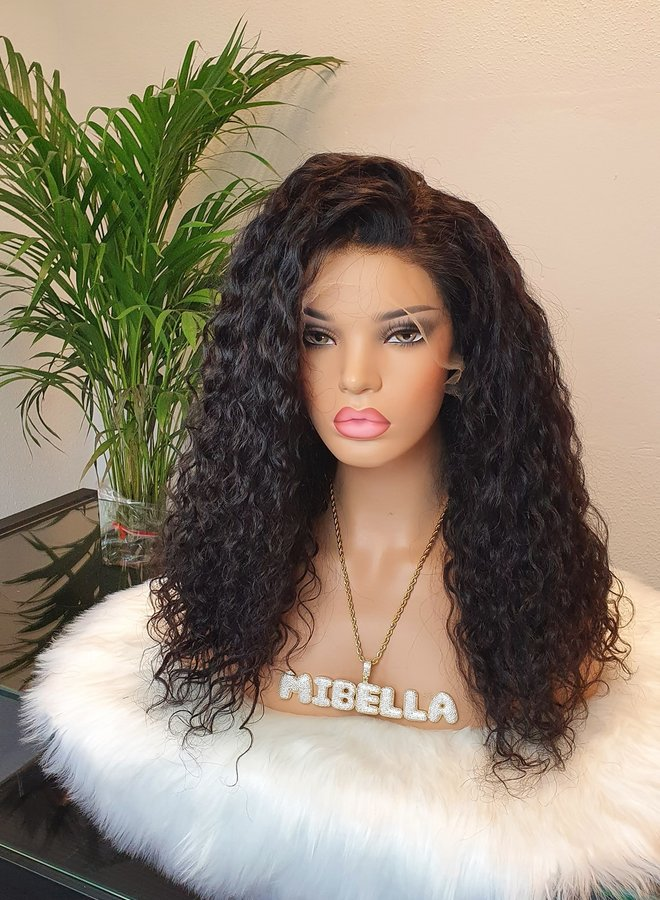 """HD Frontal Wig Curly Remy Hair 18"""" Dome Cap"""