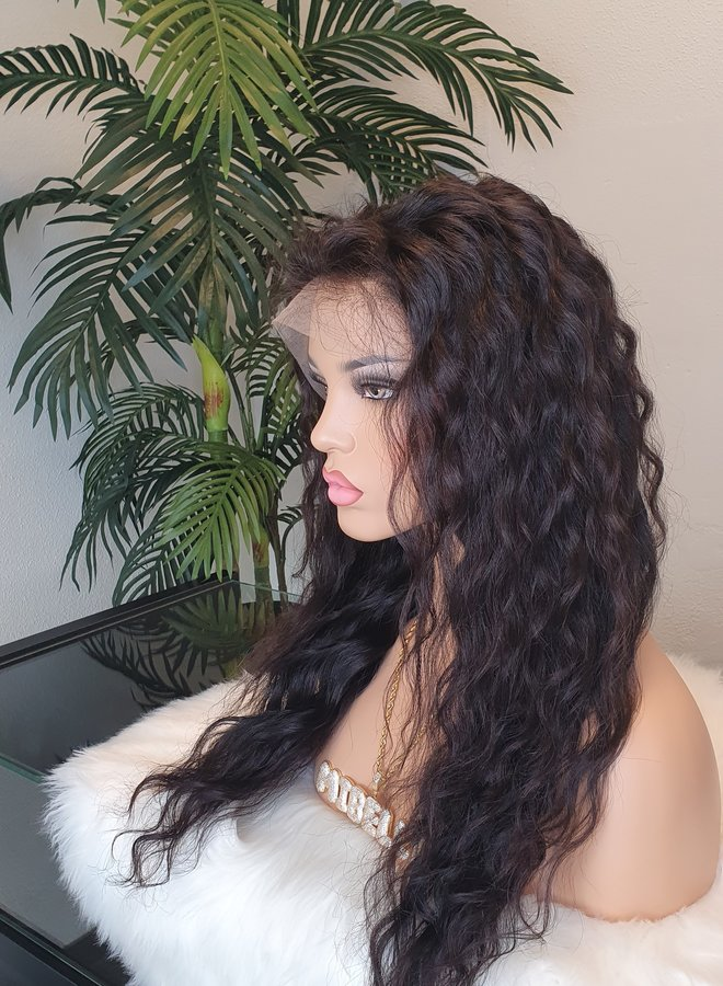 """Frontal Wig Loose Curly Raw* Indian Hair 18"""" Transparent Lace"""