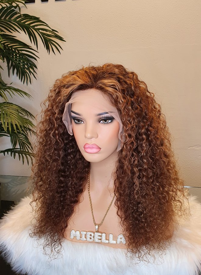 """HD Frontal Wig Curly Remy Hair 22"""" Dome Cap - Copy"""