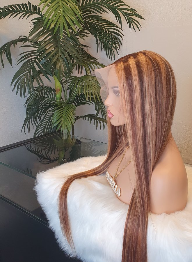 """Frontal Wig Straight Remy Hair Highlights 26"""""""