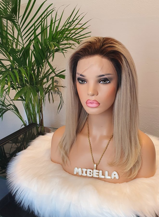 """Frontal Wig Raw* Indian Straight Ombre Ash Blonde 12"""""""