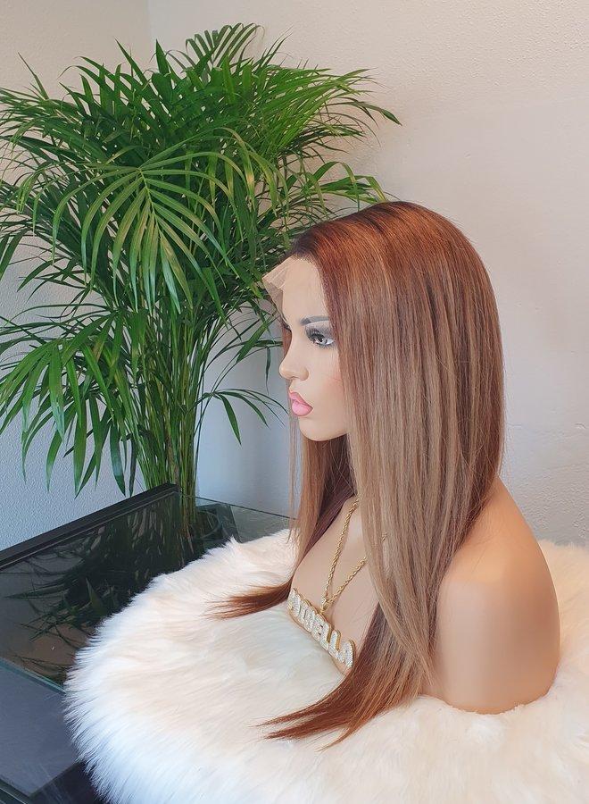 """Frontal Wig Brown Blonde 16"""" Raw Hair"""