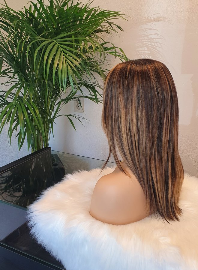 """Full Stretch Cap Wig 14"""" Brown + Highlights"""
