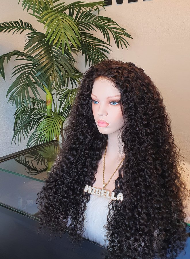 """5x5 HD Closure  Wig Curly Remy Hair 24"""" 