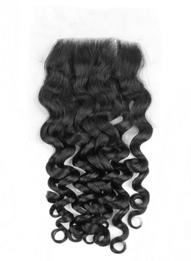 Raw* Indian 4x4 Transparent Closure Moroccan Curly