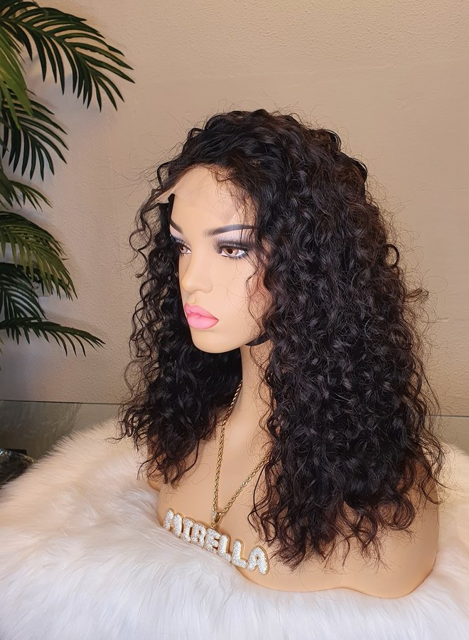 """5x5 Closure Wig Raw*  Indian Moroccan Curly 14"""" Transparent Lace"""