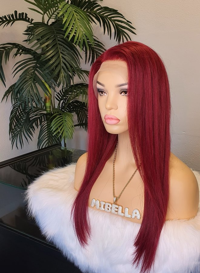 """Frontal Wig Straight Remy Hair Red 18"""" Transparent Lace"""