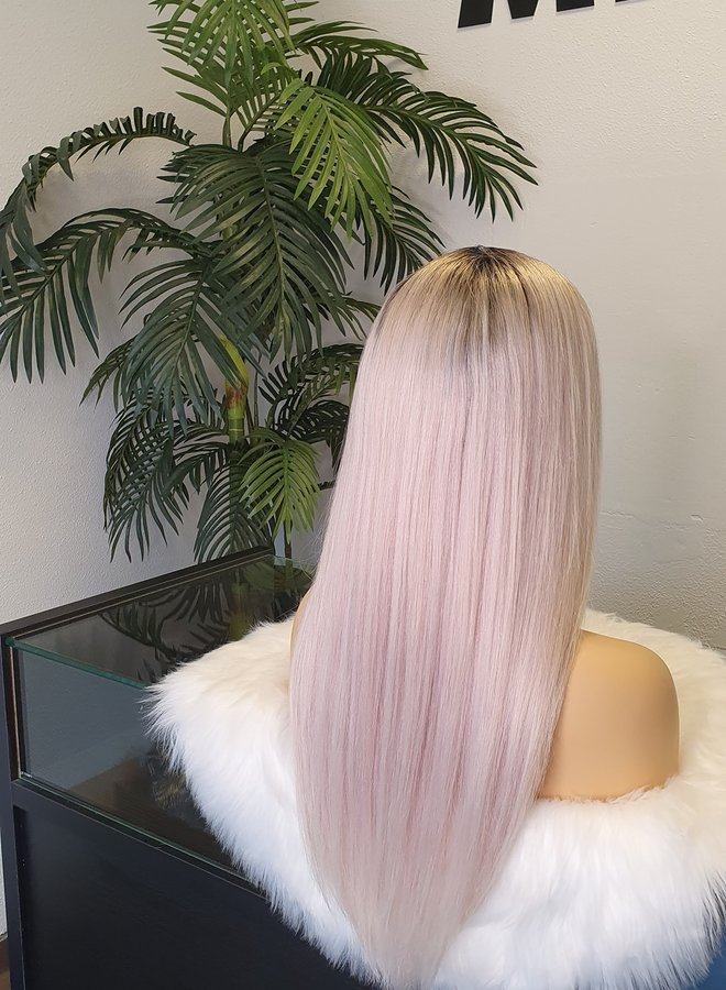 """Frontal Wig Straight 22"""" Remy Hair Ombre Grey Transparent Lace"""