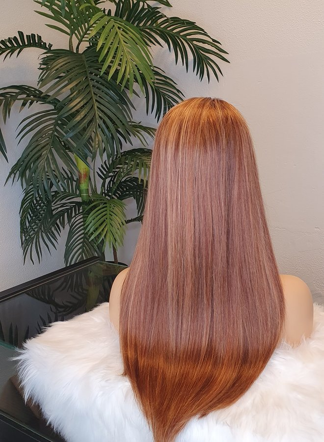 """Frontal Wig Straight Remy Hair Highlights 18"""""""