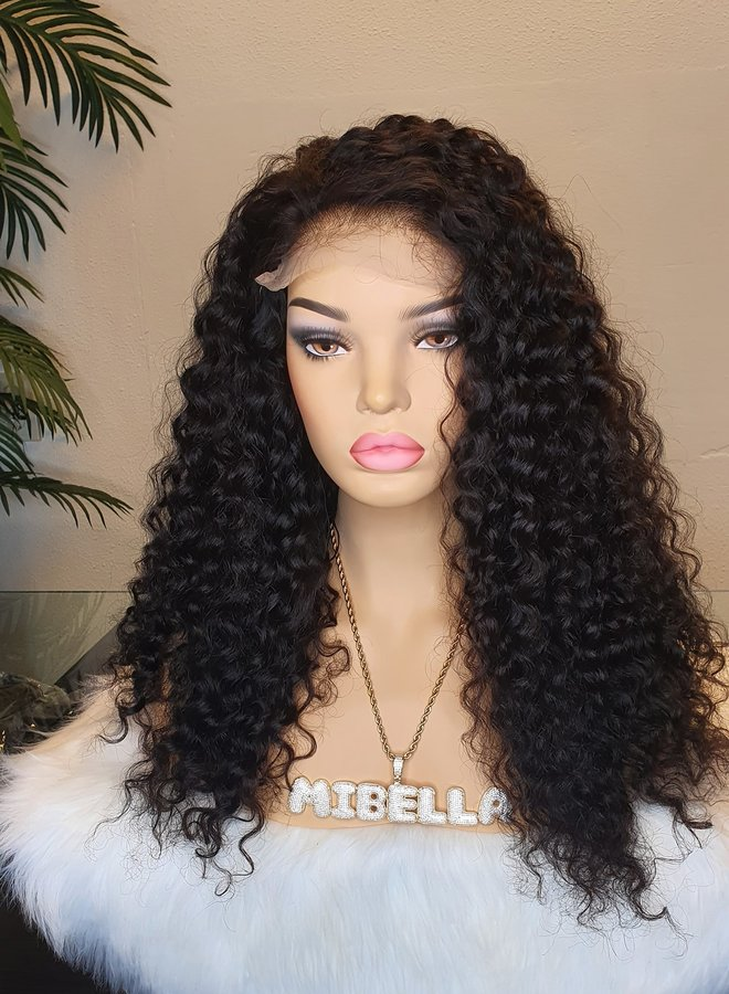 """5x5 Closure Wig Curly Remy Hair 20"""" Transparent Lace"""