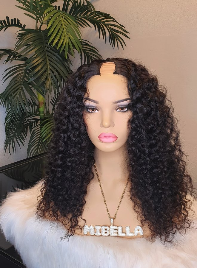 "Caribbean Curly U Part Wig 18"" Raw* Indian Hair"
