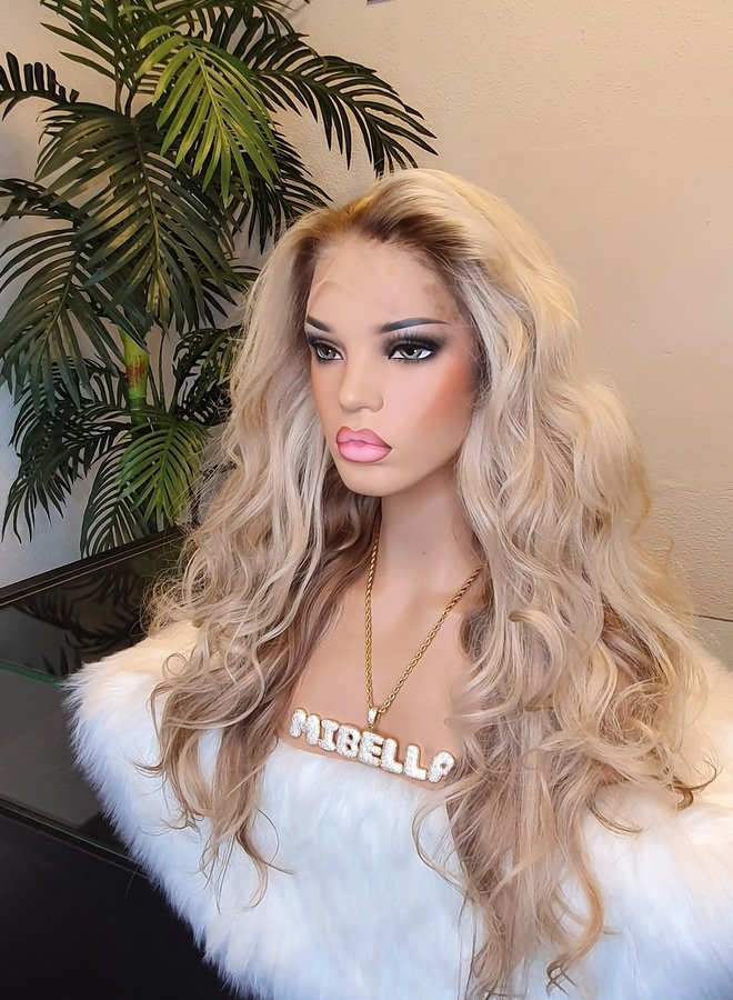 """Frontal Wig 20"""" Mixed Blonde Raw Indian Hair"""