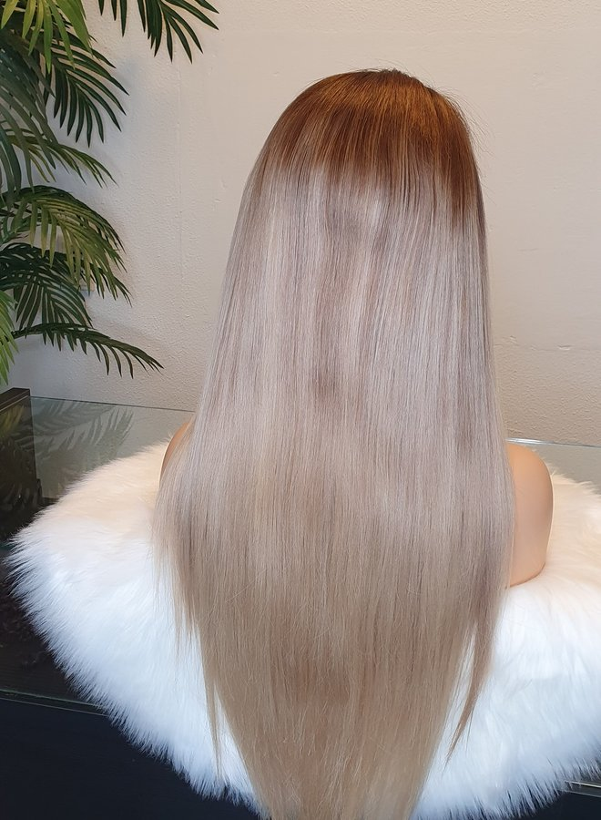Frontal Wig 24 inch Ombre Ashy Blonde Raw Indian Hair