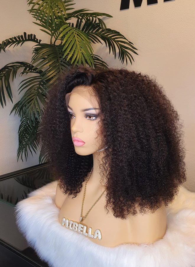 """Frontal Wig Afro Kinky Curly Remy Hair 18"""""""