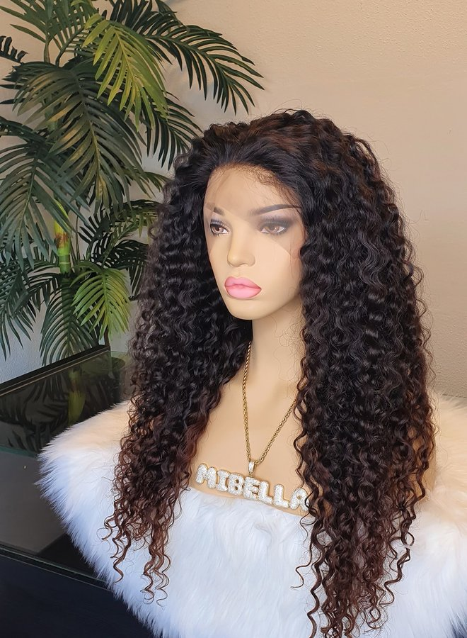 """Frontal Wig 24"""" Raw* Indian Hair Caribbean Curly"""