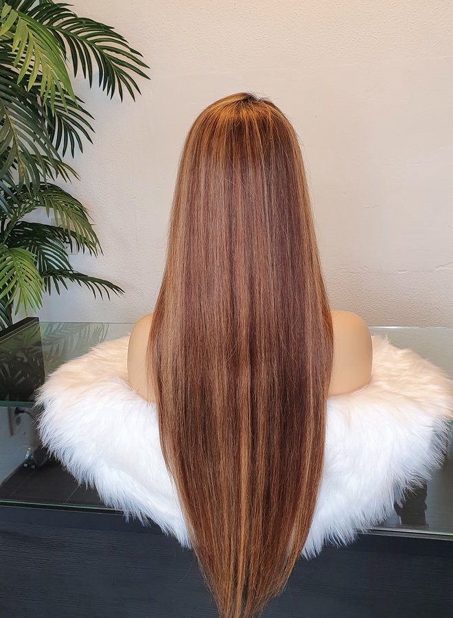 """Frontal Wig Straight Remy Hair Ombre Highlights 26"""""""