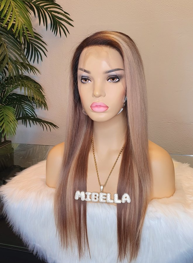 """Frontal Wig 18"""" Mixed Blonde Raw Indian Hair"""