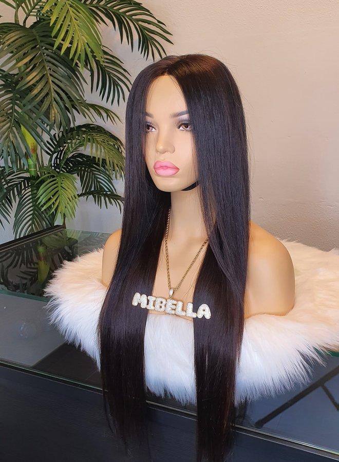 "5x5 HD Closure  Wig Raw Indian Straight Hair 24""   Tweedehands"
