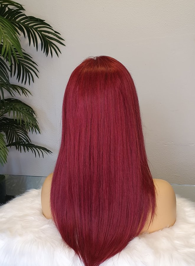 """Frontal Wig Straight Remy Hair Red 16"""" Transparent Lace"""