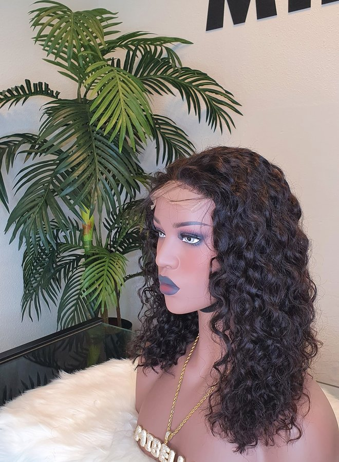 """5x5 Closure Wig Raw*  Indian Moroccan Curly 12"""" Transparent Lace    Capsize Small"""