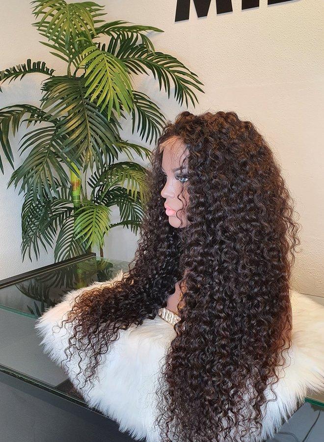 "4x4 HD Closure Wig Caribbean Curly 30"" Raw* Indian Hair"