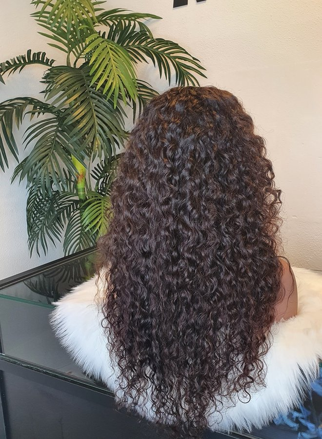 """5x5 Closure Wig Raw*  Indian Moroccan Curly 24"""" HD Lace"""