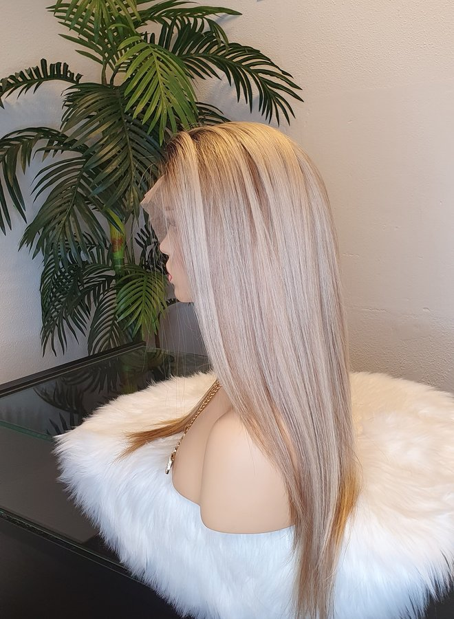 """Frontal Wig 18"""" Ombre Blonde Raw Indian Hair"""