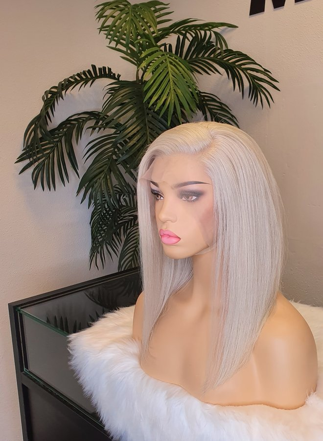 """Icy Blonde Frontal Wig 12"""" Bob Remy Hair"""