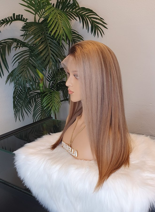 """Frontal Wig 16"""" Dark Blonde Raw Indian Hair   Dome Cap   Capsize Large"""