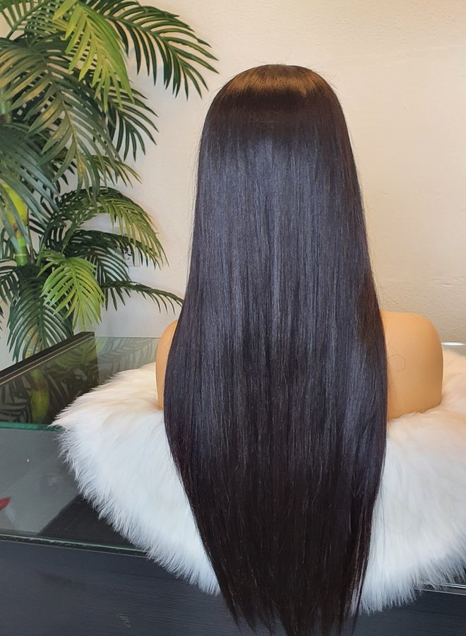 """4x4 Closure Wig Raw Indian Straight 22""""    Transparent Lace   Capsize Large"""