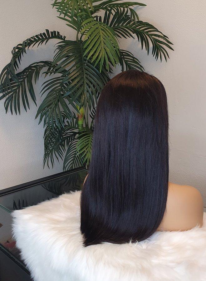 "Closure Wig Wig Remy Straight Hair 18""   300 gram   Medium Brown Lace"