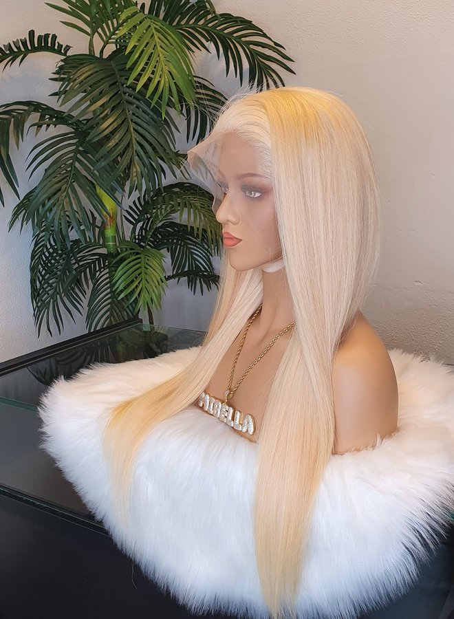 """Frontal Wig 22"""" 613 Blonde Raw Indian Hair"""