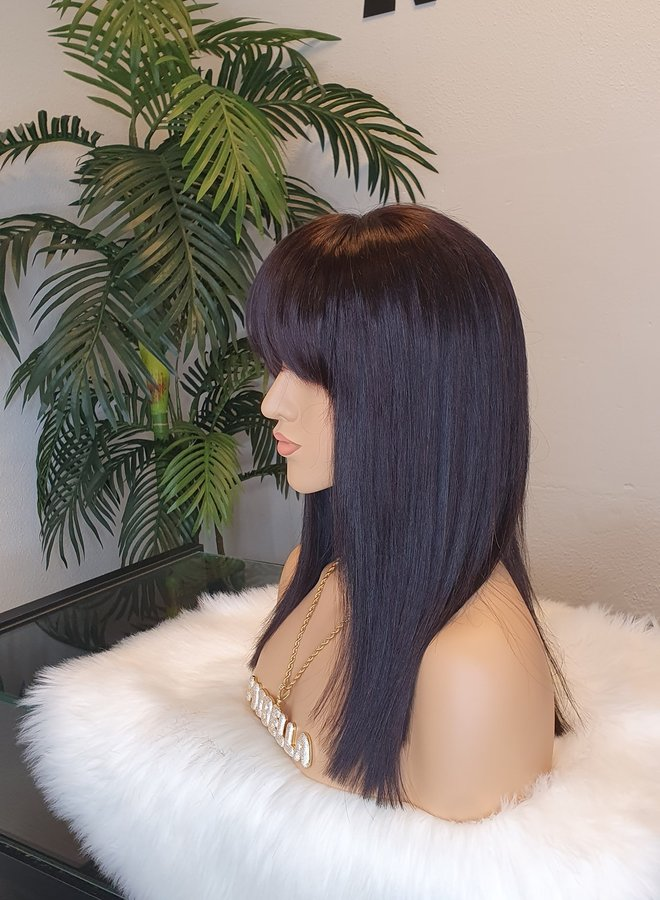 """Closure Wig Remy Straight Hair 14"""""""